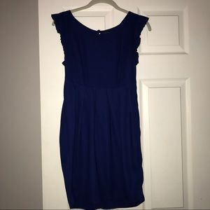 🔥Navy Blue Pleated Dress with Ruffle Sleeves